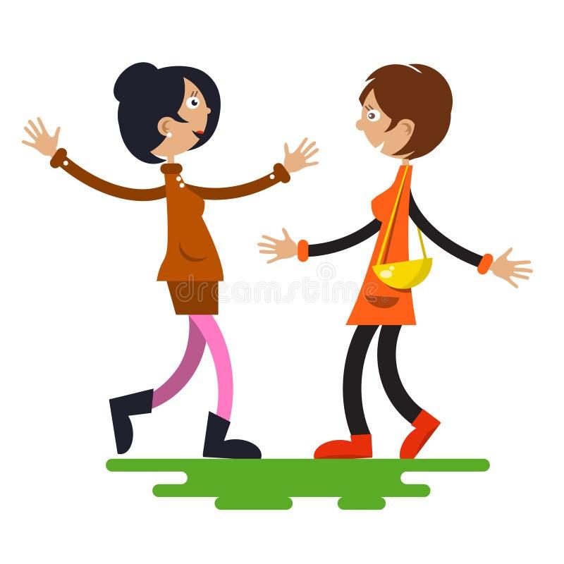 Vetor de duas mulheres ilustração royalty free