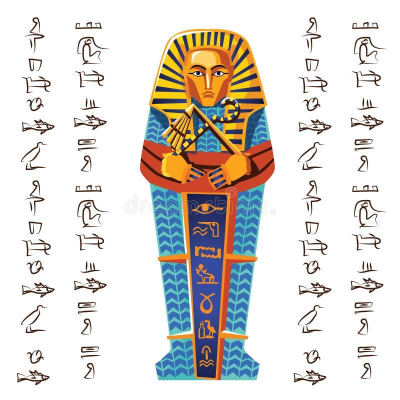 Desenhos Animados Egipcios Do Icone Do Sarcofago Do Farao