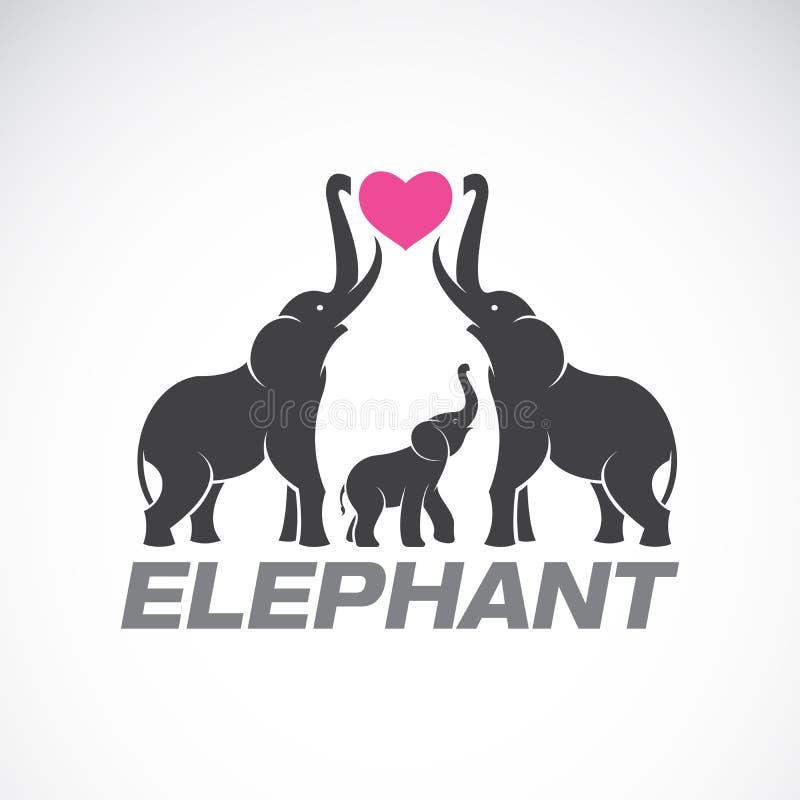 Vetor de elefantes da família e do coração cor-de-rosa no fundo branco ilustração royalty free