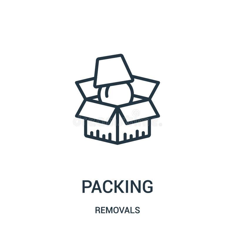 vetor de embalagem do ícone da coleção das remoções Linha fina ilustração do vetor do ícone do esboço da embalagem Símbolo linear ilustração do vetor