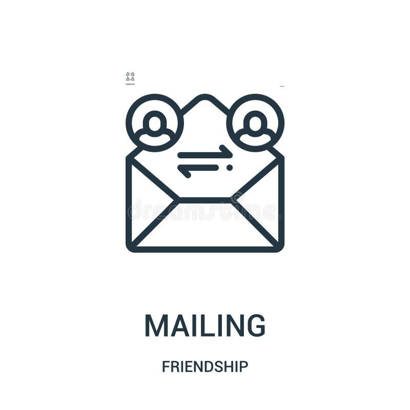 vetor de envio pelo correio do ícone da coleção da amizade Linha fina ilustração do vetor do ícone do esboço do enviamento Símbol ilustração royalty free