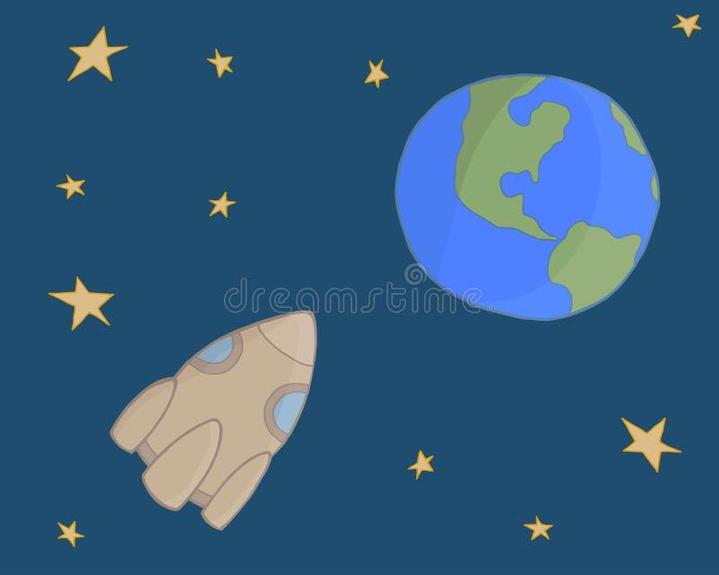 Vetor de espaço A nave espacial voa à terra ilustração royalty free