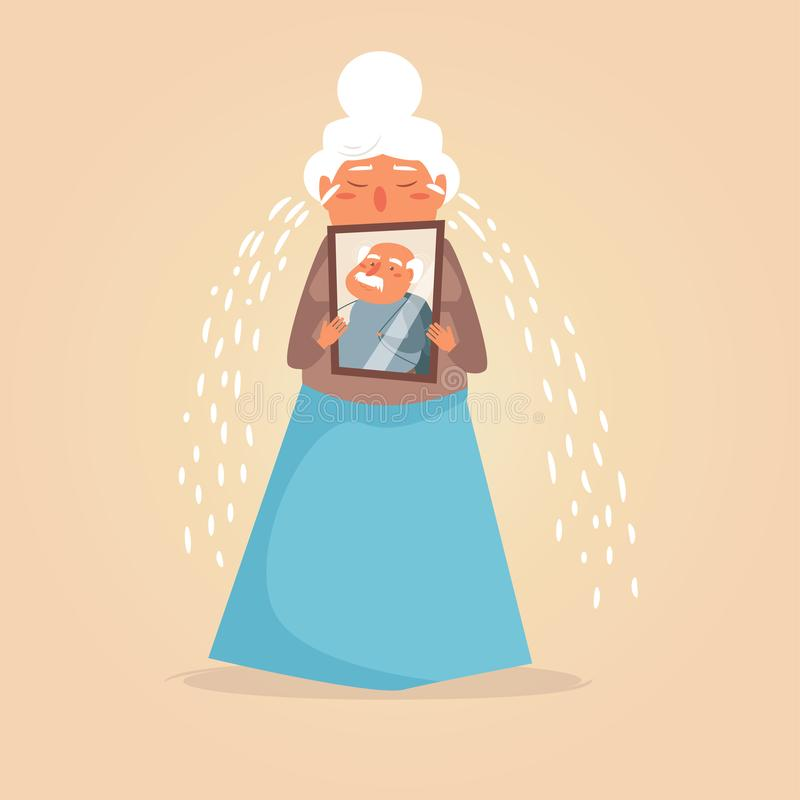 Vetor de grito da mulher da pessoa idosa cartoon Arte isolada no fundo branco liso ilustração stock