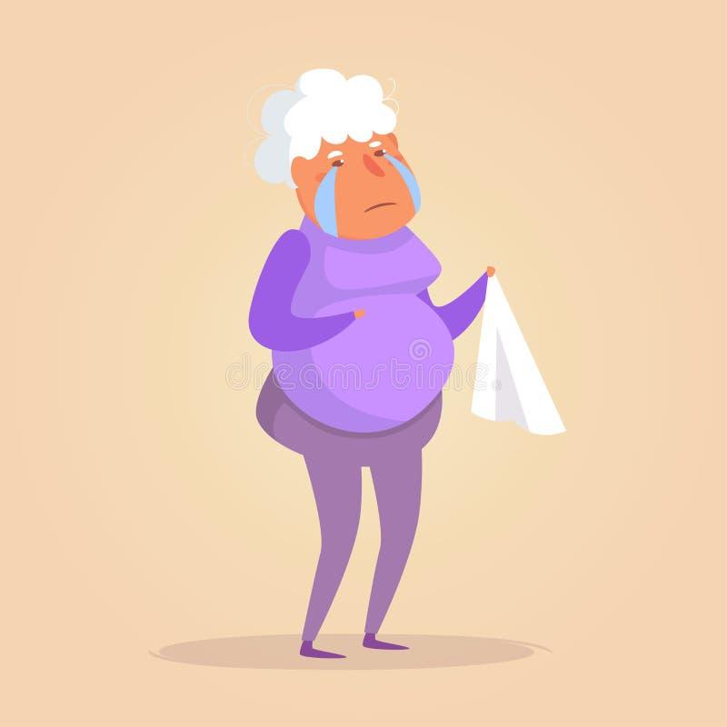 Vetor de grito da pessoa idosa cartoon Arte isolada no fundo branco liso ilustração do vetor