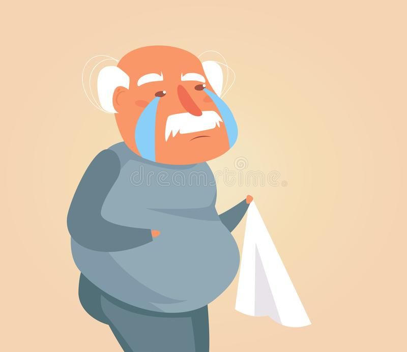 Vetor de grito da pessoa idosa cartoon Arte isolada no fundo branco liso ilustração royalty free