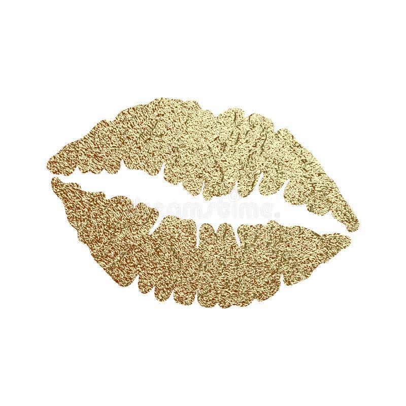 Vetor de ilustração de lábios dourados ilustração stock
