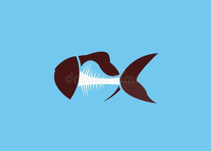 Vetor de ilustrações dos peixes e do osso ilustração stock