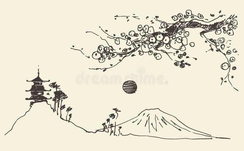 Vetor de Japão das flores do pagode da montanha de Fuji do esboço ilustração do vetor
