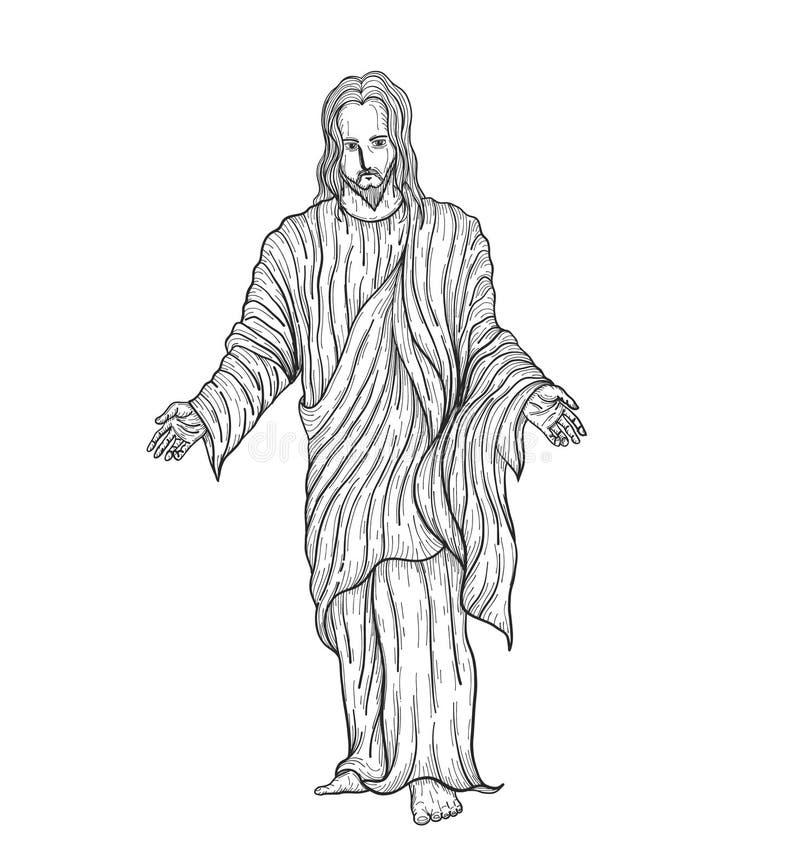 Vetor de Jesus christ que tira à mão ilustração stock