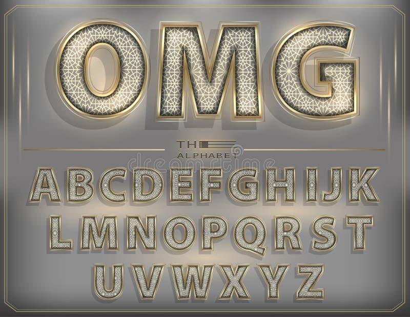 Vetor de letras de néon douradas modernas da fonte 3D Alfabeto luxuoso do fulgor ilustração do vetor