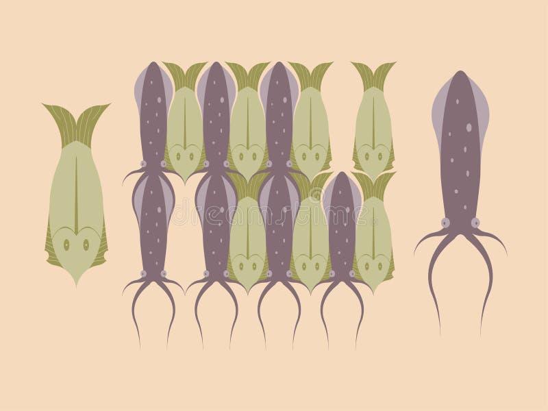 Vetor de Loopable do elemento dos módulos do calamar e dos peixes para o teste padrão do Tessellation ilustração royalty free
