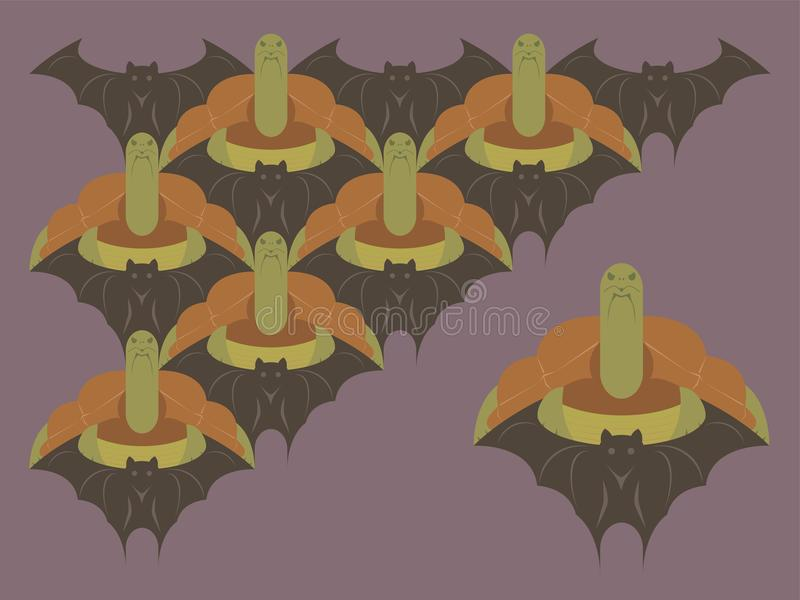 Vetor de Loopable do elemento dos módulos das tartarugas e dos bastões para o teste padrão do Tessellation ilustração stock