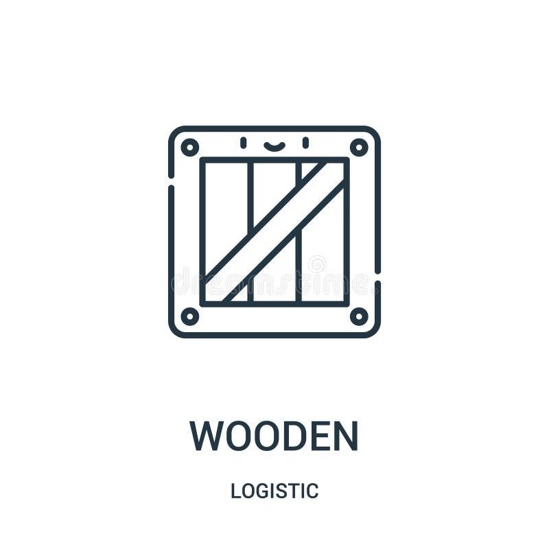 vetor de madeira do ícone da coleção logística Linha fina ilustração de madeira do vetor do ícone do esboço ilustração stock