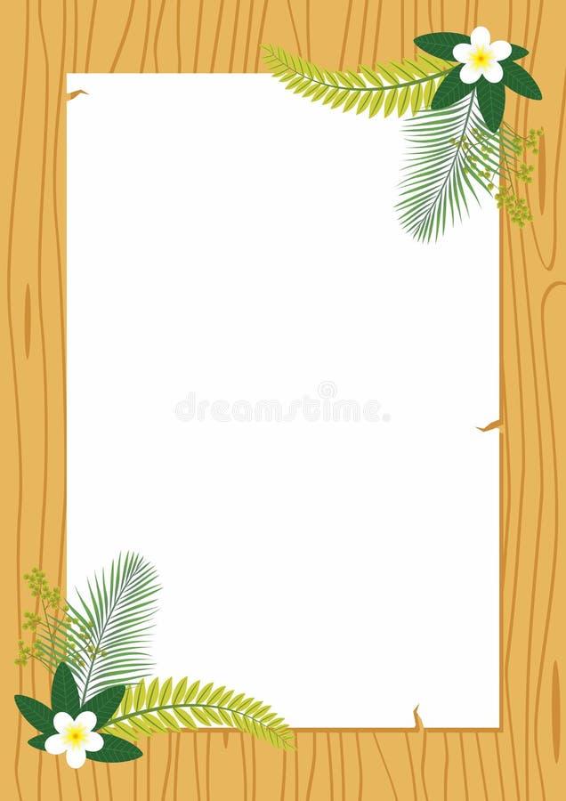 Vetor de madeira do quadro com decoração da flor ilustração royalty free