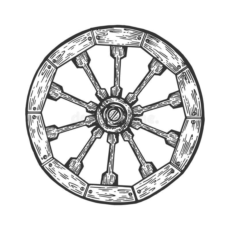Vetor de madeira velho da gravura da roda do carro ilustração royalty free