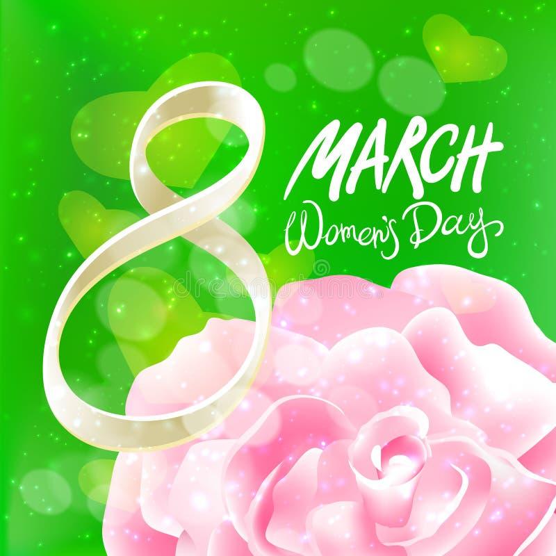 Vetor 8 de março o dia das mulheres A cor-de-rosa levantou-se Fundo da luz verde ilustração stock
