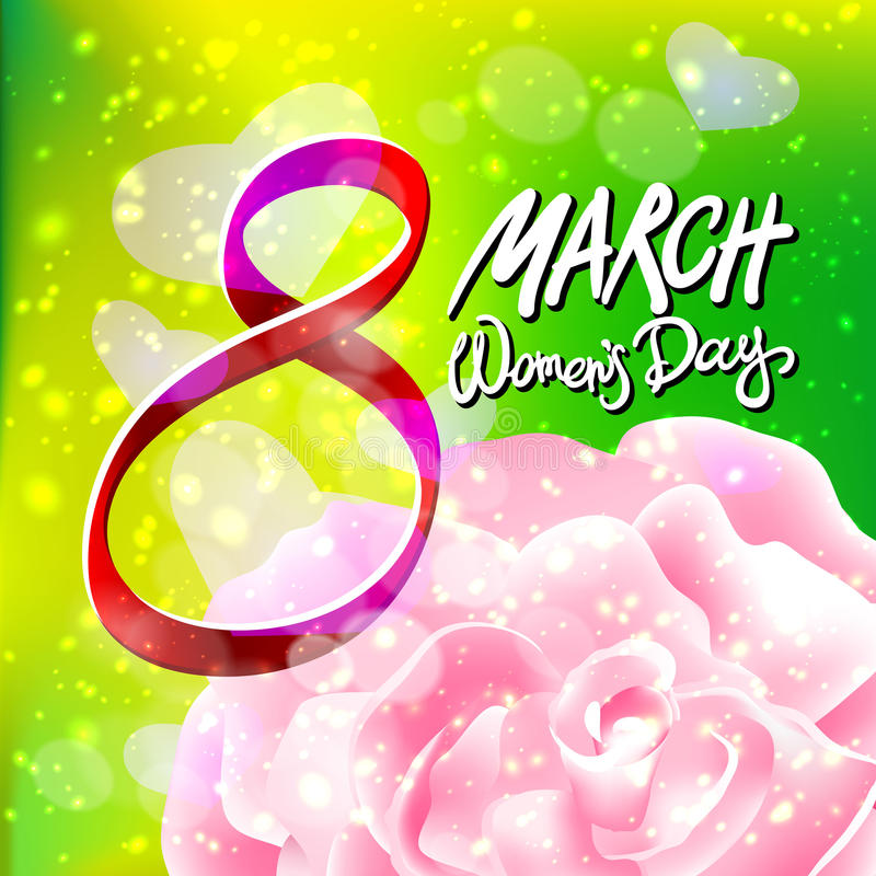 Vetor 8 de março o dia das mulheres A cor-de-rosa levantou-se Fundo da luz verde ilustração royalty free