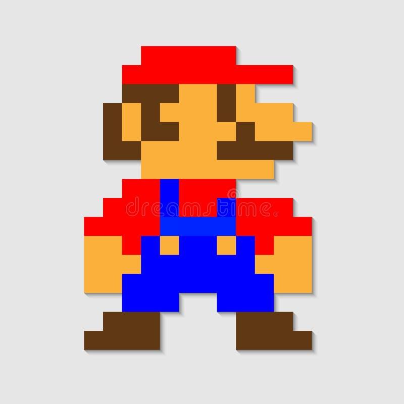 vetor de Mario do pixel ilustração do vetor
