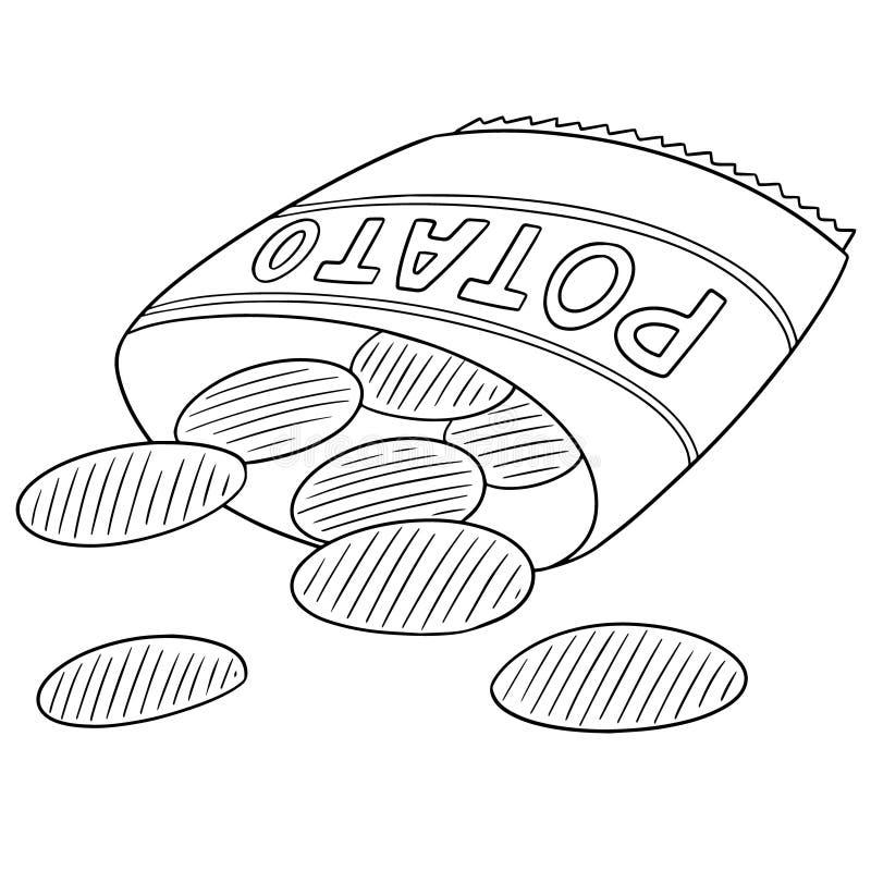 Vetor de microplaquetas de batata ilustração stock