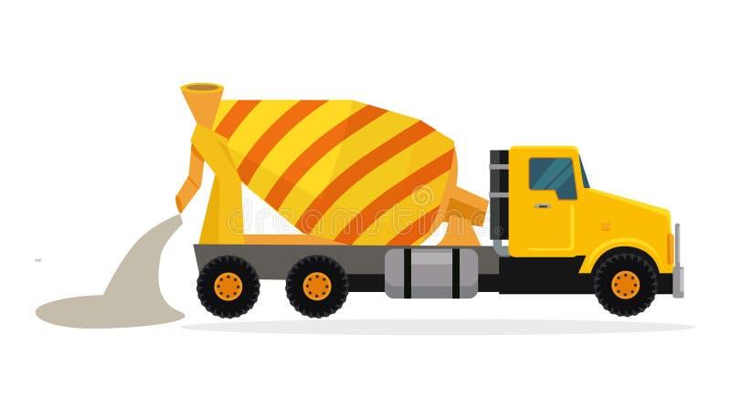 Vetor de mistura concreto do caminhão no projeto liso ilustração do vetor