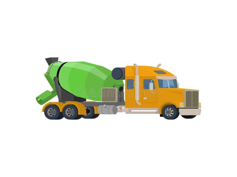 Vetor de mistura concreto do caminhão Projeto liso ilustração royalty free