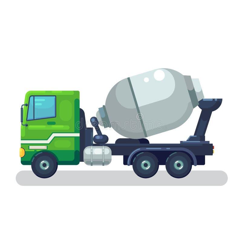 Vetor de mistura concreto do caminhão Projeto liso Transporte industrial Máquina da construção O caminhão verde com misturador de ilustração stock