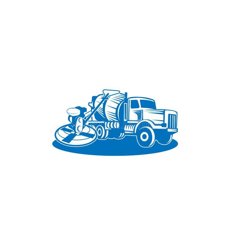 Vetor de mistura concreto do caminhão Projeto liso Transporte industrial Máquina da construção Para a ilustração do tema da const ilustração do vetor