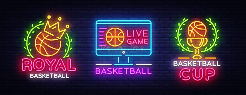 Vetor de néon da coleção do logotipo do basquetebol O sinal de néon do basquetebol, molde do projeto, projeto moderno da tendênci ilustração stock