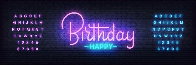 Vetor de néon do feliz aniversario Sinal de rotulação brilhante de incandescência da noite para a celebração do aniversário ou do ilustração stock