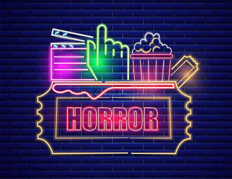 Vetor de néon do símbolo do cinema do filme Fundo escuro de incandesc?ncia do sinal Moldes Shinning do quadro de avisos ilustração do vetor