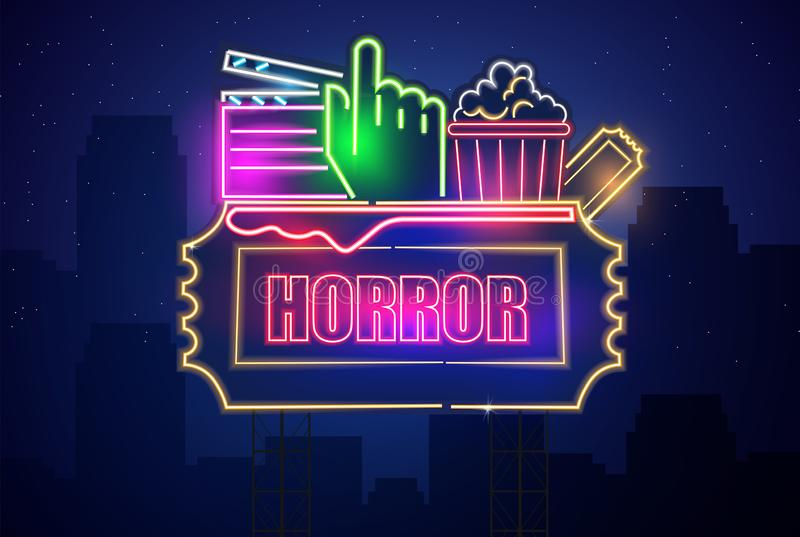 Vetor de néon do símbolo do cinema do filme de terror Fundo escuro de incandesc?ncia do sinal Moldes Shinning do quadro de avisos ilustração stock