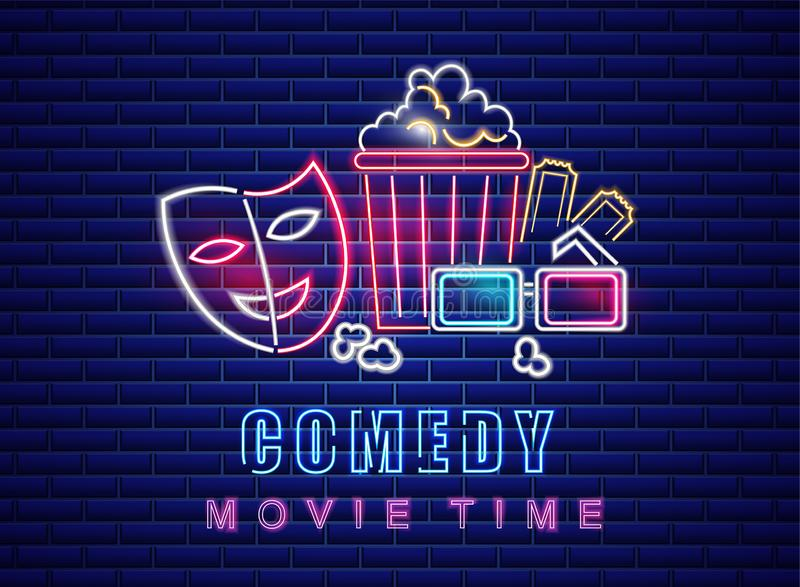 Vetor de néon do símbolo do filme da comédia Fundo escuro de incandescência do sinal Moldes Shinning do quadro de avisos ilustração royalty free