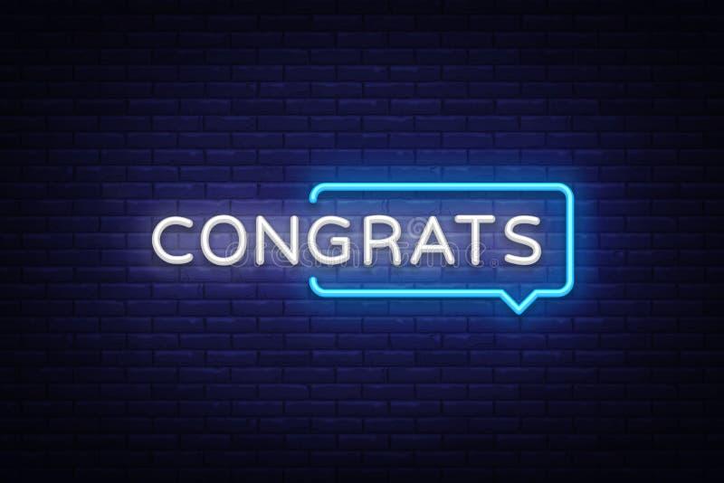 Vetor de néon do texto de Congrats Sinal de néon de Congrats, molde do projeto, projeto moderno da tendência, quadro indicador de ilustração do vetor
