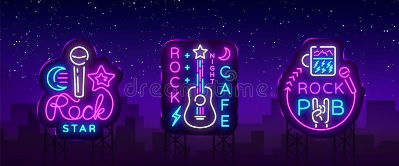 Vetor de néon dos logotipos da coleção da música rock Balance o bar, café, sinais de néon da estrela do rock, símbolos conceptuai ilustração royalty free