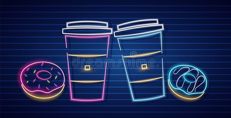 Vetor de néon dos símbolos do café e dos anéis de espuma Fundo escuro de incandesc?ncia do sinal Moldes Shinning do quadro de avi ilustração royalty free