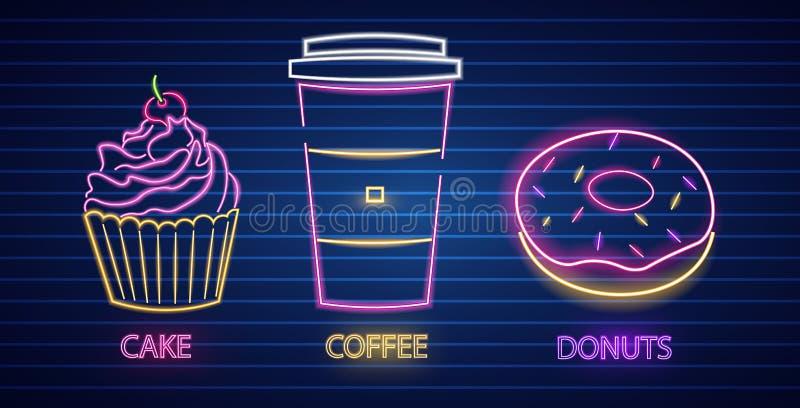 Vetor de néon dos símbolos do queque, do café e da filhós Fundo escuro de incandesc?ncia do sinal Moldes Shinning do quadro de av ilustração stock