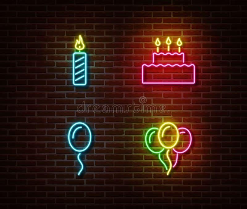 Vetor de néon dos sinais do aniversário da celebração isolado na parede de tijolo Vela, bolo, símbolo da luz do baloon do ar ilustração do vetor
