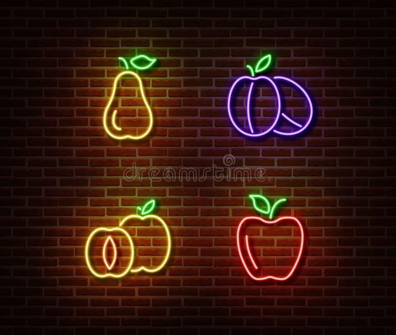 Vetor de néon dos sinais dos frutos dos vegetais isolado na parede de tijolo Pera, ameixas maduras, maçã, luz s do abricó ilustração stock