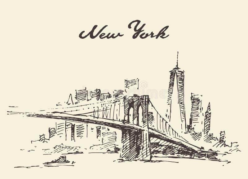 Vetor de New York E.U. da skyline da ponte de Manhattan tirado ilustração do vetor
