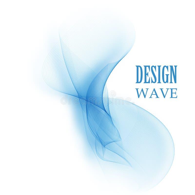 Vetor de onda liso abstrato da cor Ilustração azul do movimento do fluxo da curva Projeto do fumo ilustração royalty free