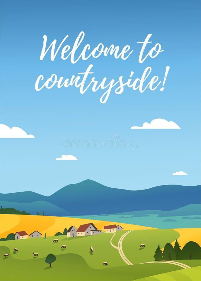 Vetor de paisagem plana ilustração da paisagem rural de verão: céu, montanhas, casas de aldeia, vacas, campos e prados aconche ilustração royalty free