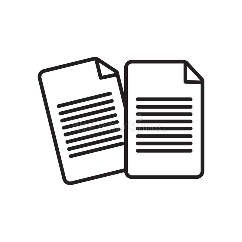 Vetor de papel do ícone isolado no fundo branco, no sinal de papel, no sinal e nos símbolos no estilo linear fino do esboço ilustração royalty free
