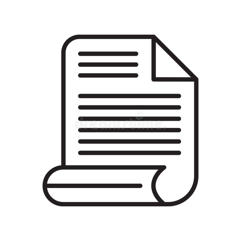 Vetor de papel do ícone isolado no fundo branco, sinal de papel, lin ilustração do vetor