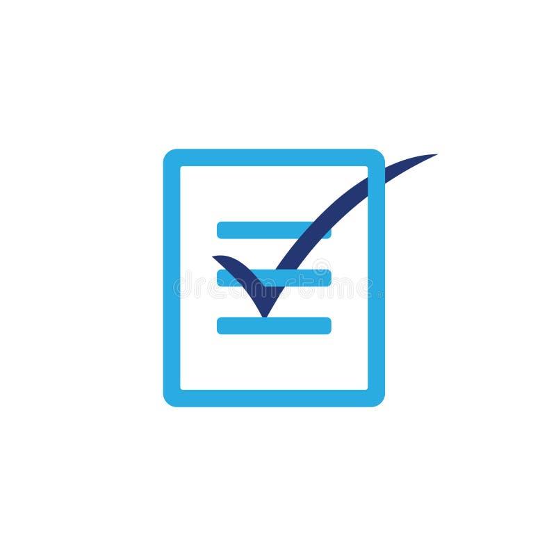 Vetor de papel do logotipo do projeto 3d da lista de verificação ilustração stock