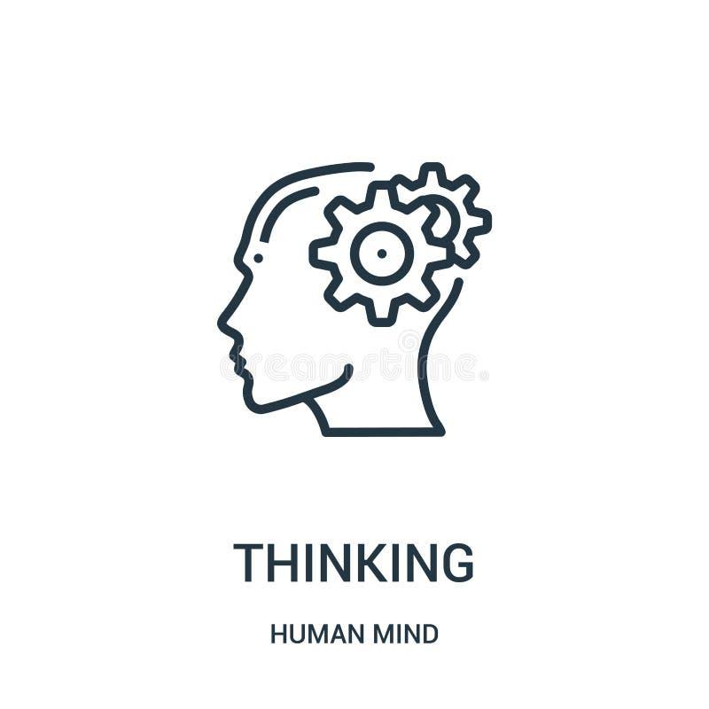 vetor de pensamento do ícone da coleção da mente humana Linha fina ilustração de pensamento do vetor do ícone do esboço Símbolo l ilustração do vetor