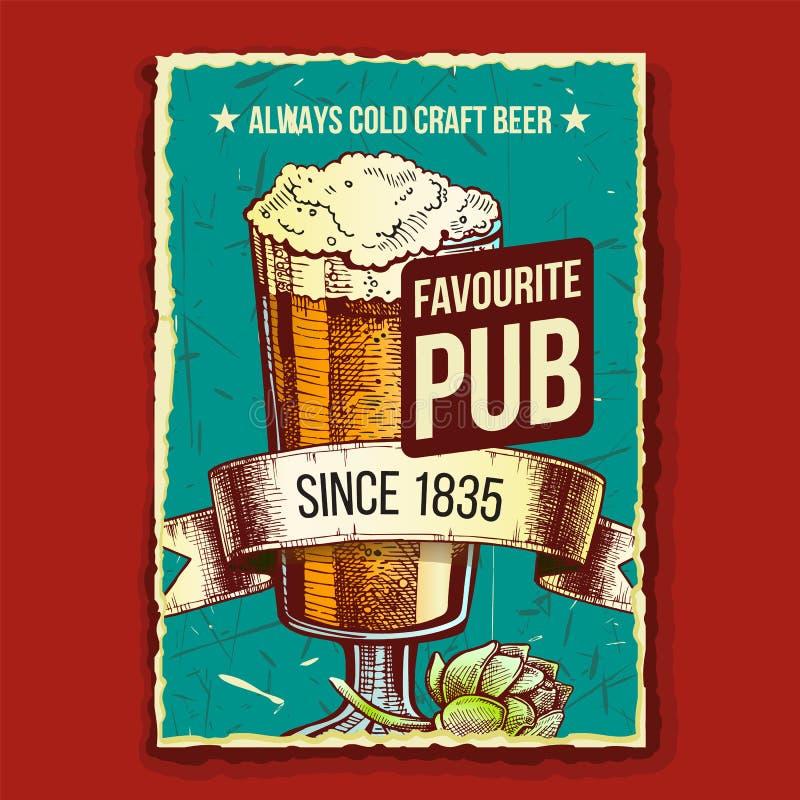 Vetor de Poster de Publicidade de Pub Favorito Beer Glass ilustração stock