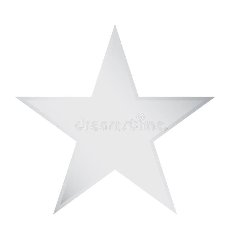 Vetor de prata eps10 do ?cone da avalia??o da estrela Sinal de avalia??o do inclina??o da prata do metal da estrela ilustração stock