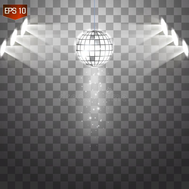 Vetor de prata retro da bola do disco, símbolo de brilho do clube de ter o divertimento, dança, DJ que mistura, partido nostálgic ilustração do vetor