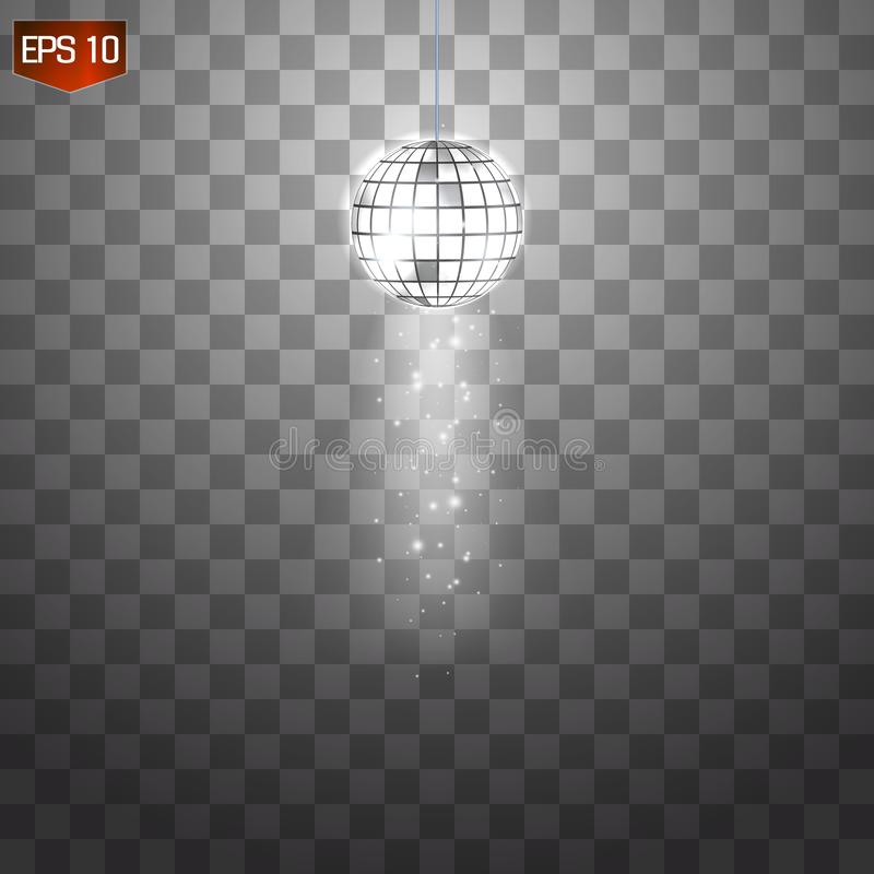 Vetor de prata retro da bola do disco, símbolo de brilho do clube de ter o divertimento, dança, DJ que mistura, partido nostálgic ilustração stock