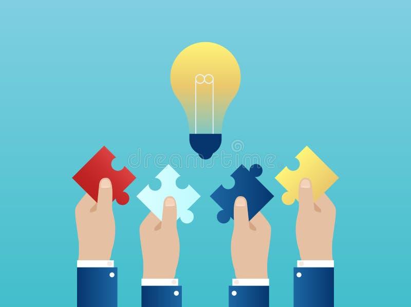 Vetor de quatro mãos que alcançam junto para fora com as partes do enigma que têm uma ideia bem sucedida ilustração do vetor